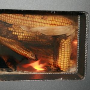 Window pic burning corn cobs